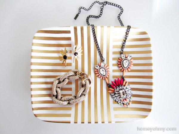 Gold Leaf Jewelry Tray with Jewelry