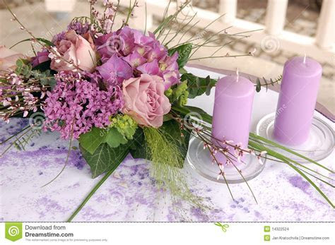 Violet wedding decoration stock photo. Image of event