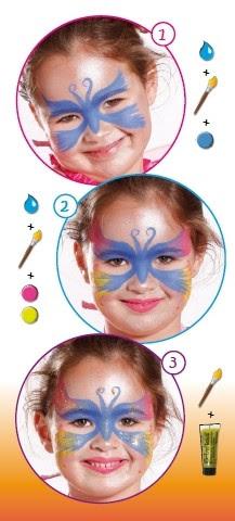 Pintura facial brilhante de BORBOLETA