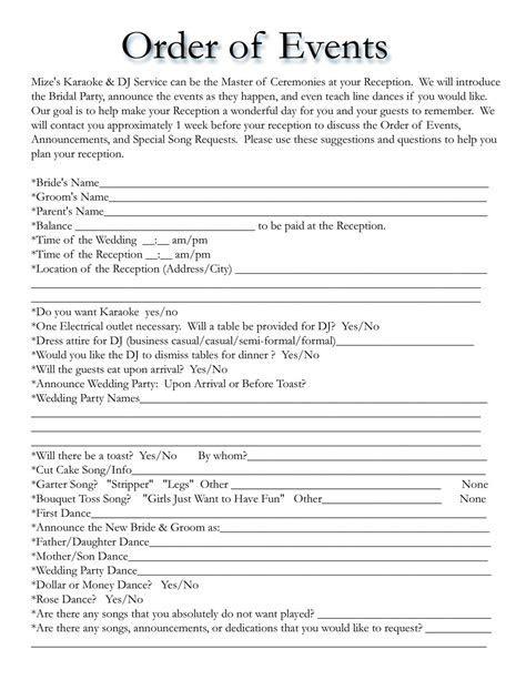 wedding itinerary templates free   Wedding Template
