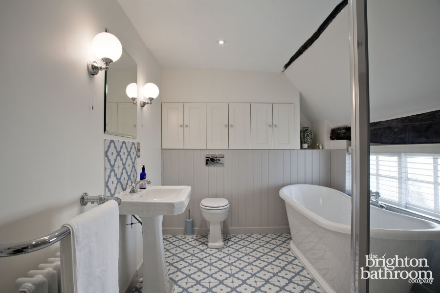 Traditional family bathroom in a Grade II listed cottage ...