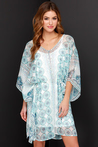 By the Seashore Ivory and Blue Print Dress