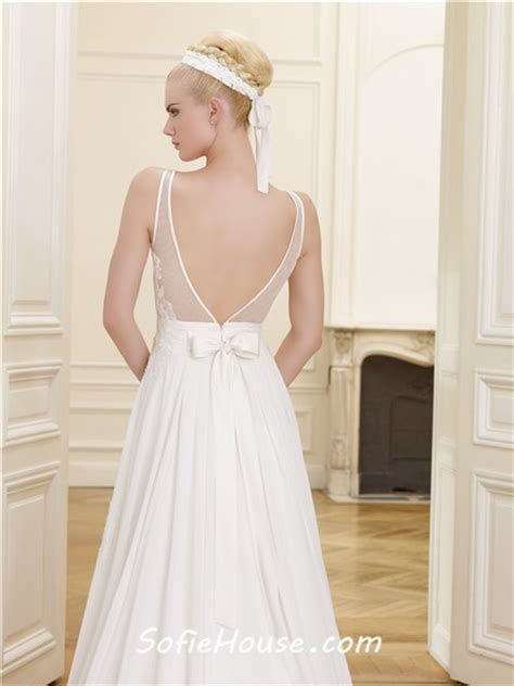 Princess A Line V Neck Low Back Chiffon Lace Wedding Dress