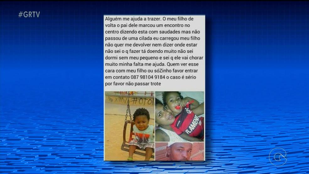 Mãe da criança fez publicação em rede social (Foto: Reprodução/ TV Grande Rio)