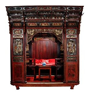Amazon.com: RB1007X-Antique Chinese Carved Canopy Bed with Alcove ...