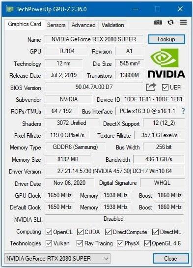 В новой версии GPU-Z добавлена поддержка GeForce RTX 3060 Ti