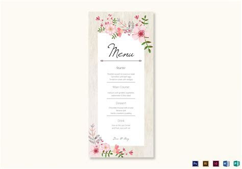 Pink Floral Wedding Menu Card Design Template in PSD, Word
