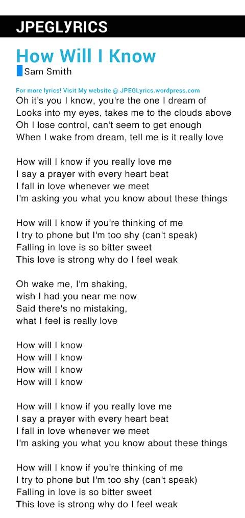 How Will I Know Lyrics Sam Smith Cover