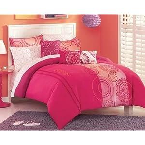 incredible hot pink orange bedroom | Dorm bedding: Girls Roxy Teen Hot Pink Orange Dot Twin XL ...