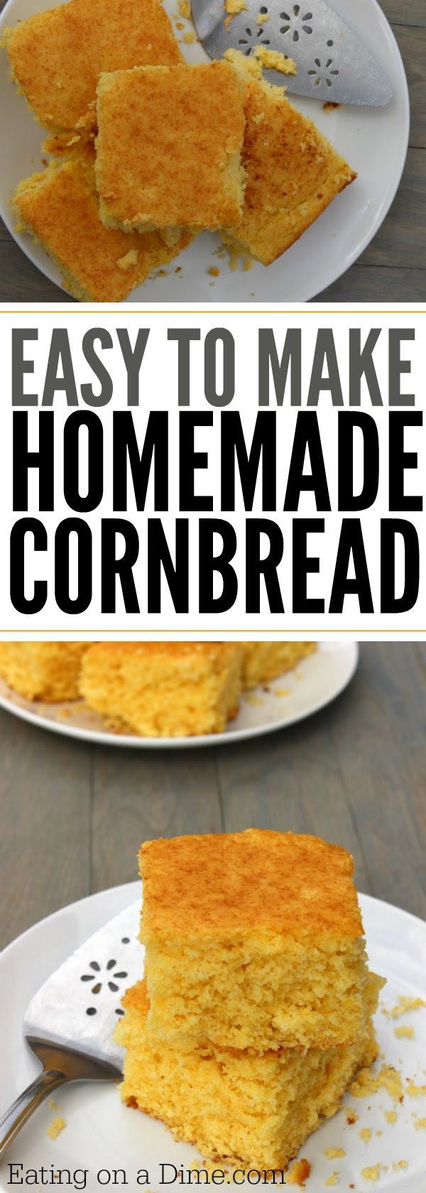 Easy Homemade Cornbread recipe - Buttery Cornbread recipe