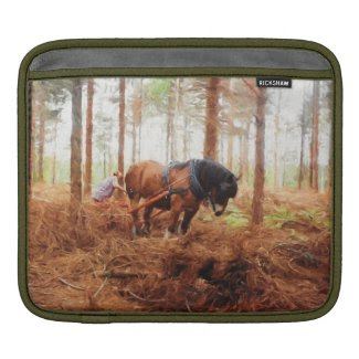 Gentle Giant - Draft Horse Hauling Logs in Forest Sleeves For iPads