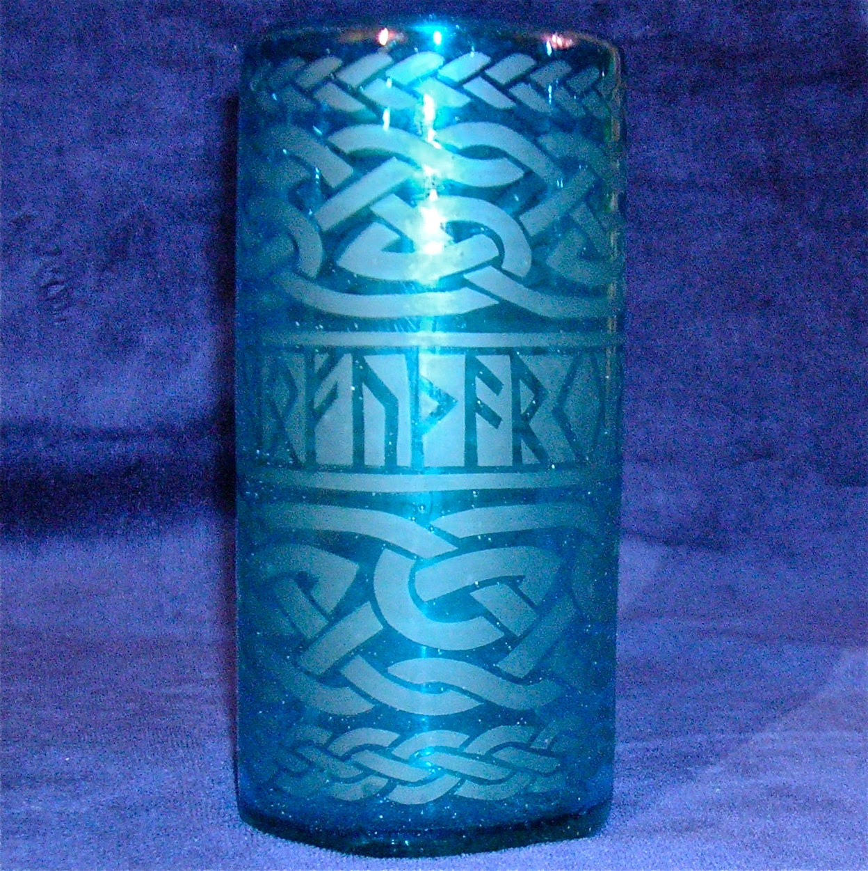 Etched Blue RUNE glass with Knotwork
