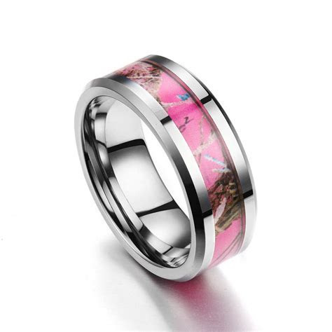 6MM Tungsten Carbide Pink Women's Camo Hunting Tree