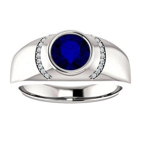 7mm Blue Sapphire & Diamond Men's Ring 14k White Gold, Men