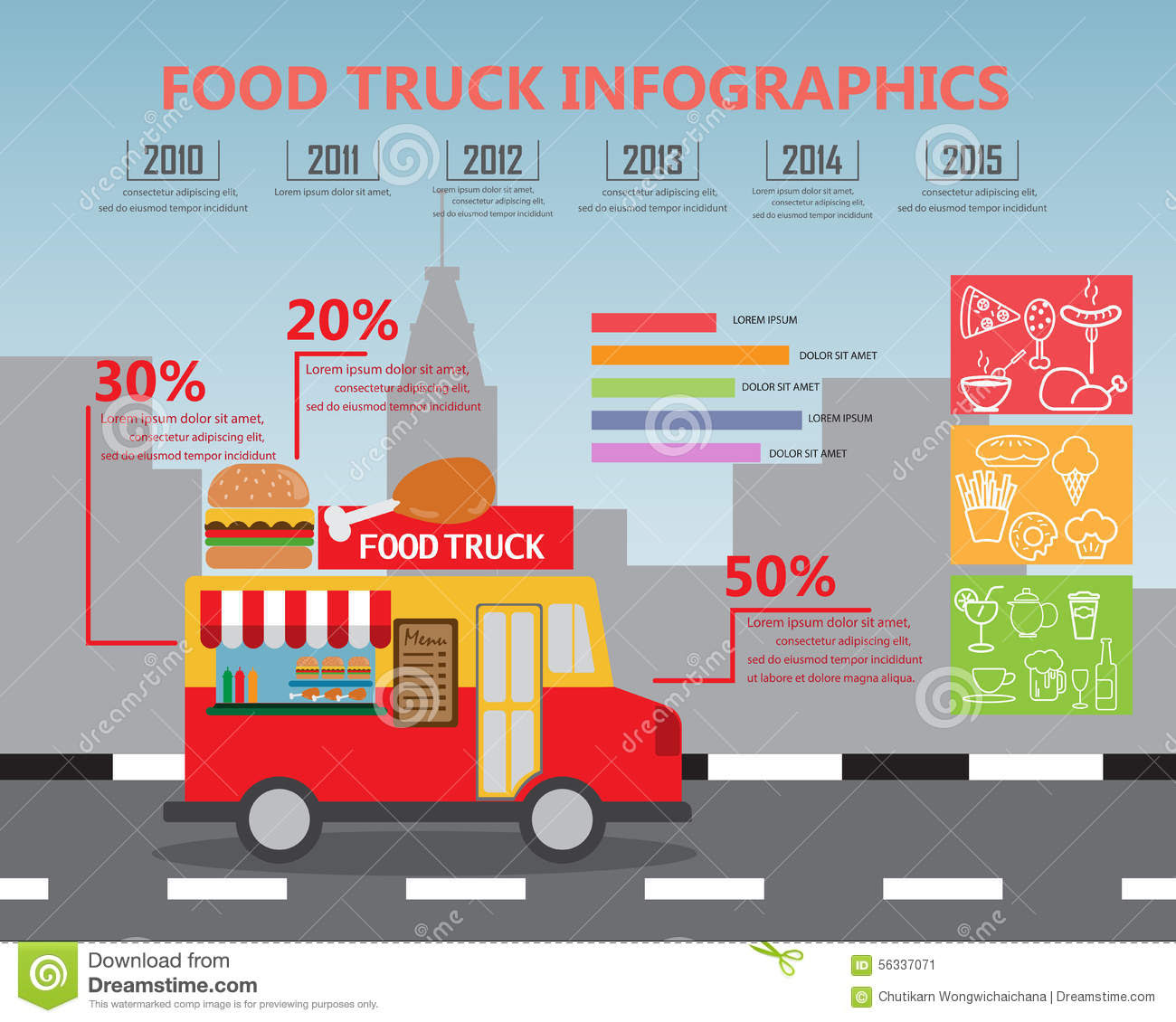 fod truck infographics fast food small business concept elements background can be used statistic business data web 56337071
