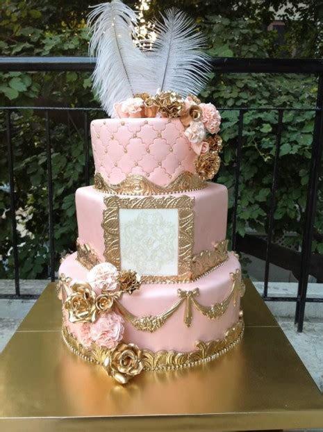 3tier Peach N Gold Frame Cake