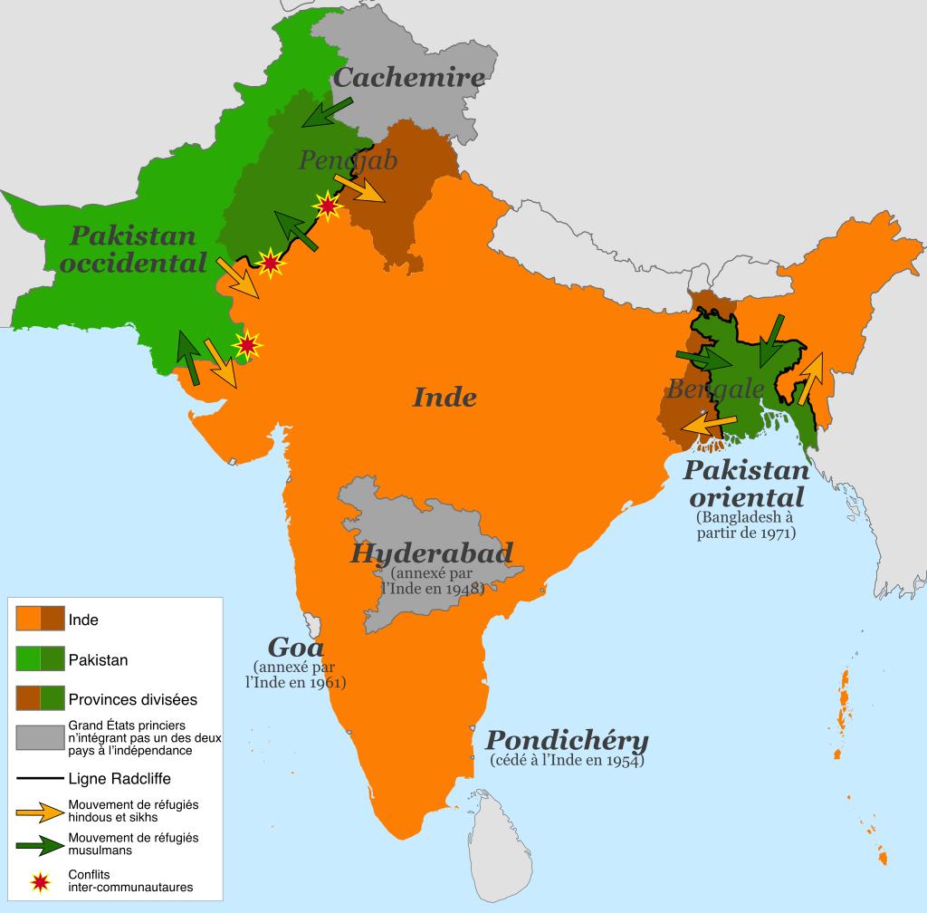 Première carte: L'Empire britannique des Indes dans l'édition de 1909 du Imperial Gazetteer of India. Les zones gouvernées directement par les Britanniques sont en rose ; les États princiers sous suzeraineté britannique sont en jaune.
