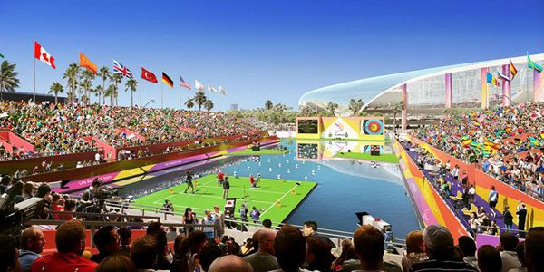 The Los Angeles Stadium at Hollywood Park, future home of the Rams and Chargers, is the proposed venue for paralympic archery in 2028.
