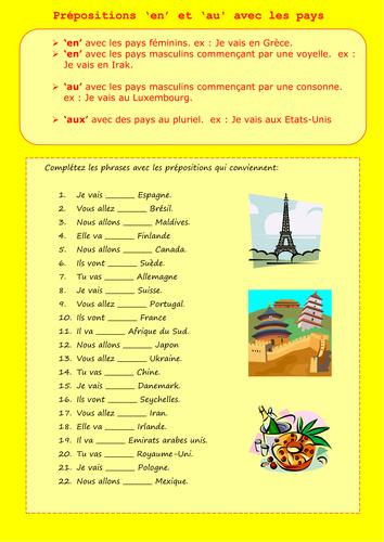 Przyimki występujące z miastami i krajami - ćwiczenie 3 - Francuski przy kawie