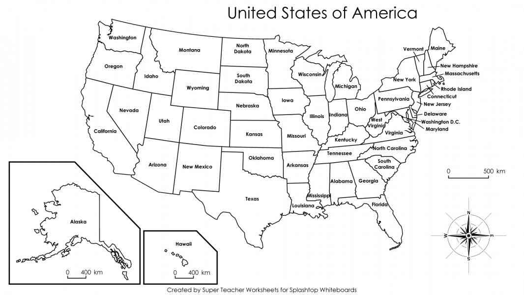 Us Map Of States Not Labeled