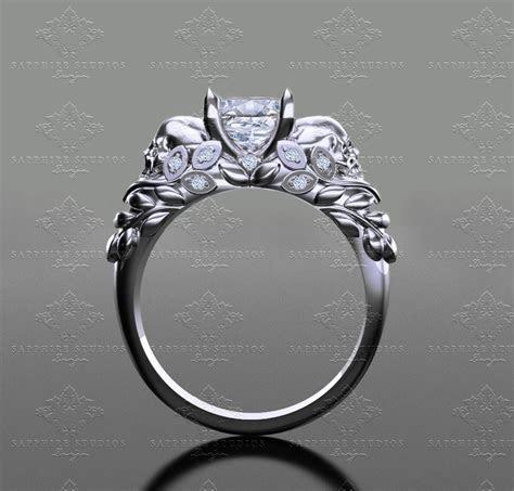 'Venice ' 1.30ct Princess Cut White Gold Skull Engagement Ring