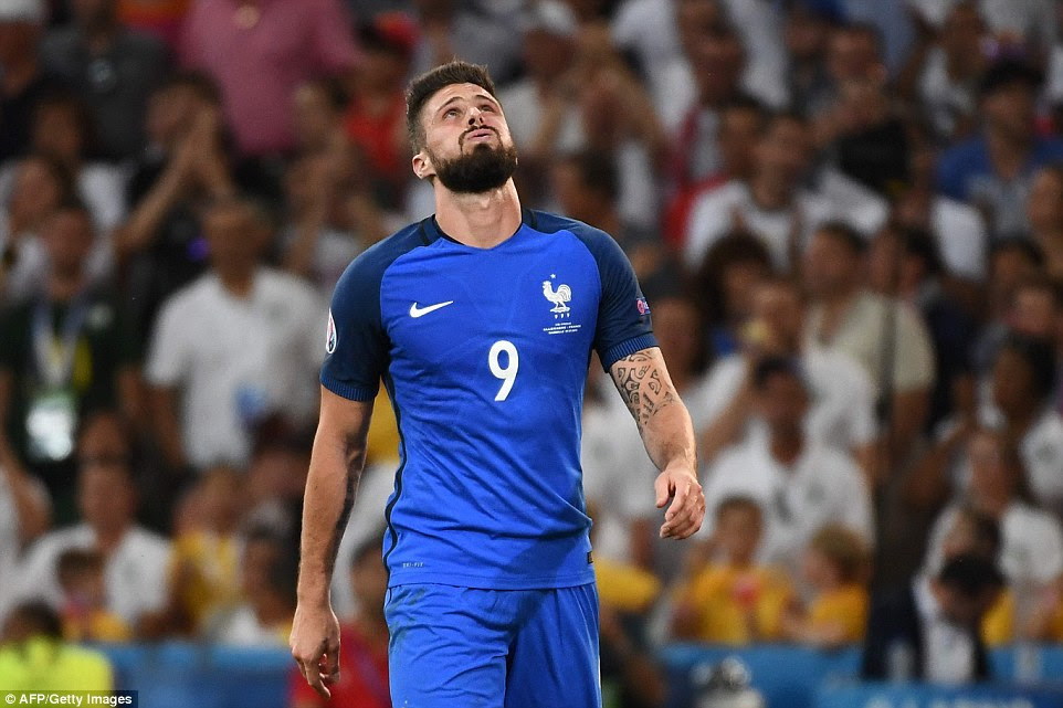 Giroud cut a frustrated figure as France struggled to make an impact until they received a dose of good-fortune just before half-time