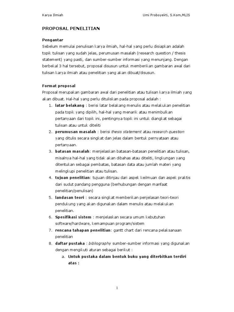 Contoh Proposal Karya Ilmiah Bahasa Indonesia Berbagi Contoh Proposal