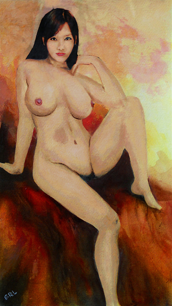 ORIGINAL FINE ART FEMALE NUDE SITTING YELLOW RED BACKGROUND MULTIMEDIA PAINTING. Paintings and prints, landscapes/seascapes, boats, sea and shore, abstracts, nudes, female nudes... Original fine art work by G. Linsenmayer.