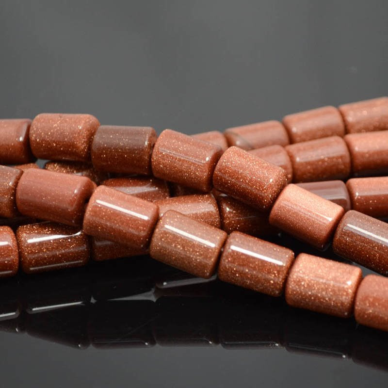 s38338 Stone Beads - 10 x 14 mm Barrel Tube (2 mm Hole) - Goldstone (1)