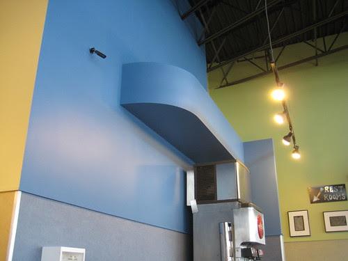 Qdoba blue wall