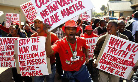 Anti-United States demonstrations have been held in the Republic of South Africa during the visit of President Barack Obama. Washington was condemned for its militarist policy toward the continent. by Pan-African News Wire File Photos