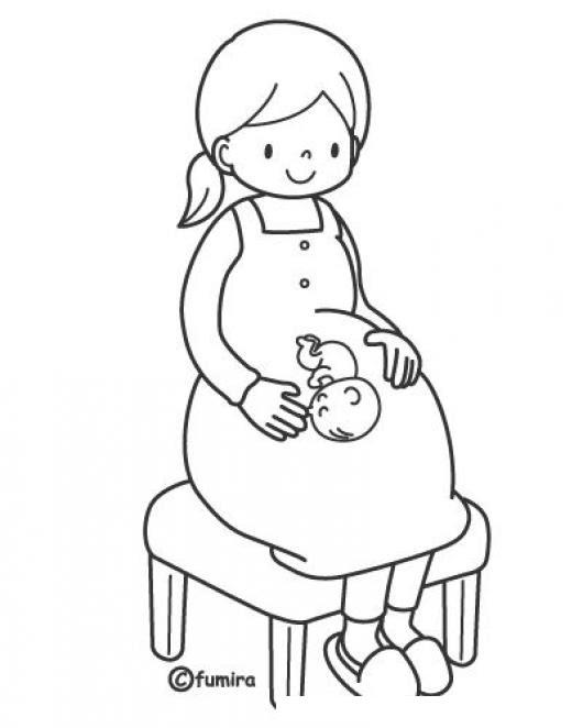 Dibujo De Mujer Embarazada Sentada Para Colorear Colorear Dibujos