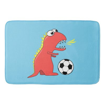 Blue Funny Cartoon Dinosaur Soccer Bath Mats