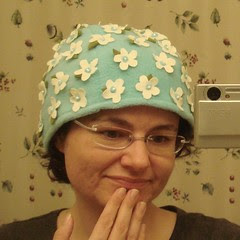 Me and my new hat, McCalls 4664, embellished with flower power!