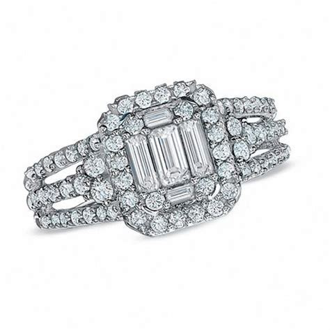 1 1/4 CT. T.W. Baguette Diamond Frame Engagement Ring in