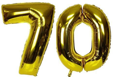 """16"""" 70 Gold Number Balloons 70th Birthday Party"""