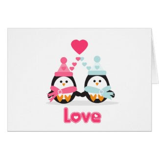 Kawaii Valentine Penguin Card