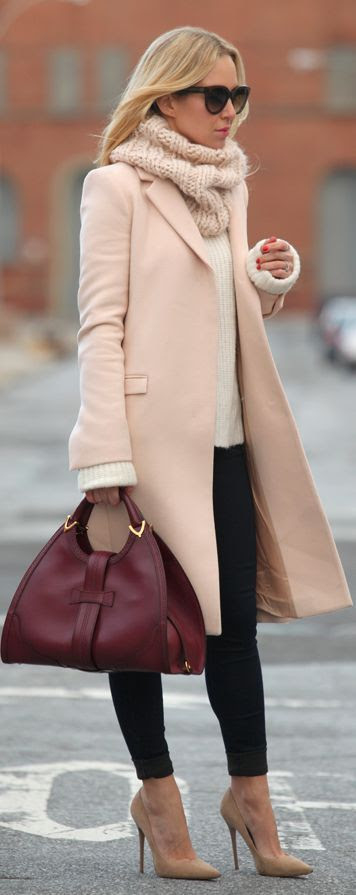 go classic with a nude wool coat, black skinny jeans or leggins, nude high heels, oxblood tote and sunglasses. The perfect parisian chic outfit