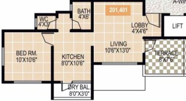 Gardenia Sus Gaon 1 BHK Flat on 2nd 4th Floor 437 sq.ft. Carpet + 60 sq.ft. Terrace