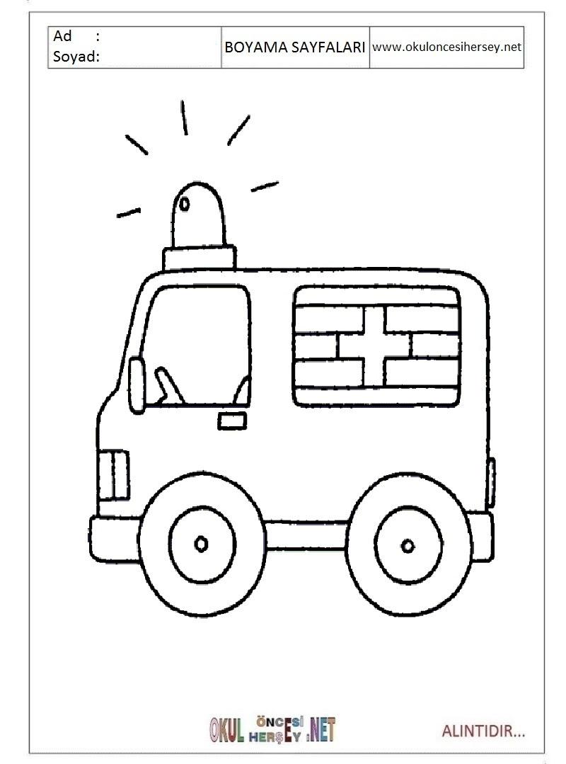 Ambulans Boyama Sayfaları