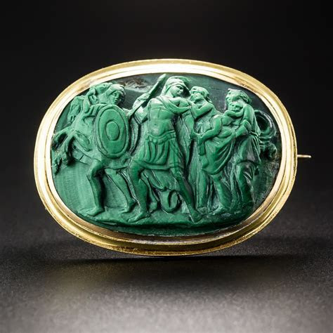 Antique Malachite Cameo Brooch