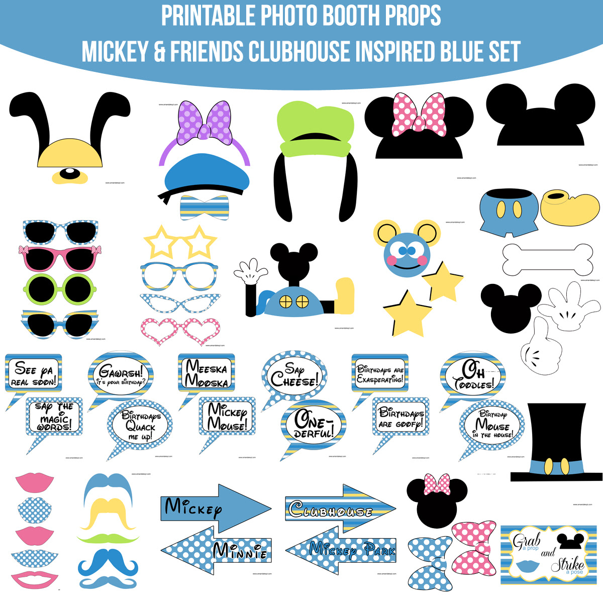 Instant Download Mickey Mouse Friends Inspired Blue Printable