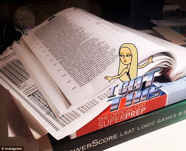 Career goals: Tiffany, 22, took to Instagram over the weekend to post a photo of her LSAT study books as she revealed she is applying to law school