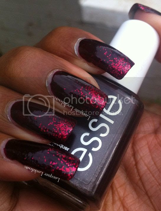 Lacquer Lockdown - Essie Wicked, Essie Leading Lady, glitter gradient, essie holiday collection 2012