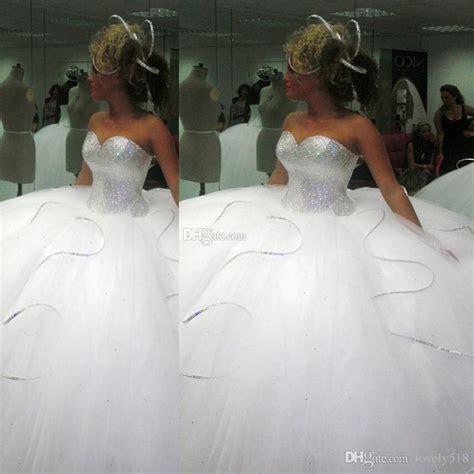 2016 Bling Bling Big Poofy Wedding Dresses Custom Made
