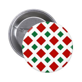 Red and Green Diamonds on White Pinback Button