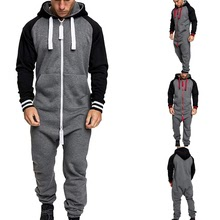Men Winter Warm Tracksuit Splicing Jumpsuit