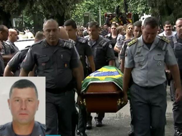 Sargento Almeida (no detalhe) foi morto durante confronto no interior do Estado de São Paulo; seu corpo foi enterrado na capital paulista (Foto: Reprodução/TV Globo)