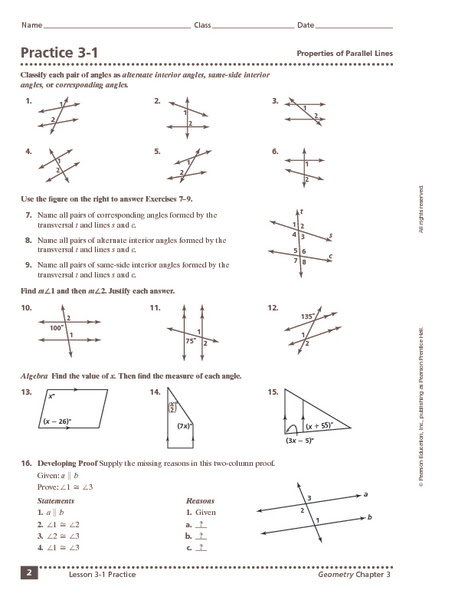 Maths Worksheets Angles In Parallel Lines  angles and parallel lines worksheet answers