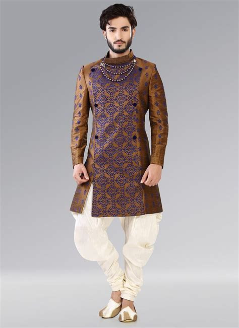 Cbazaar Golden Indowestern Patiala Style Sherwani   Men's
